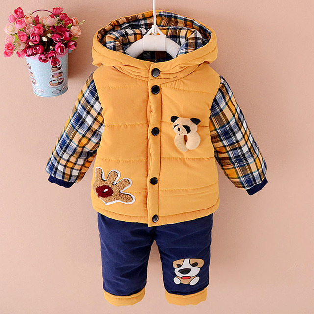 Fashion Cotton Suits Baby Cotton Velvet Thickening Children Set Padded Jacket Children' s Suits Character Baby Bibs YD035