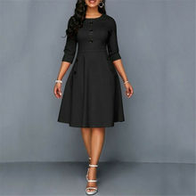 Plus Size Womens Vintage Long Prom Evening Party Swing Dress Ball Gown Button O Neck Ladies Solid Offices Fashion