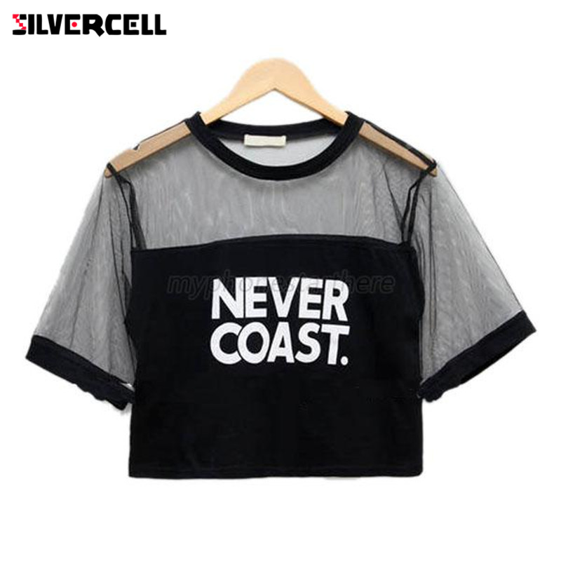 33cd1b534a5 SILVERCELL NEVER COAST Letter Printed Crop Top Sexy Women Loose Crop Short  Top Blouse Crew Neck Short Sleeve See-through Tops