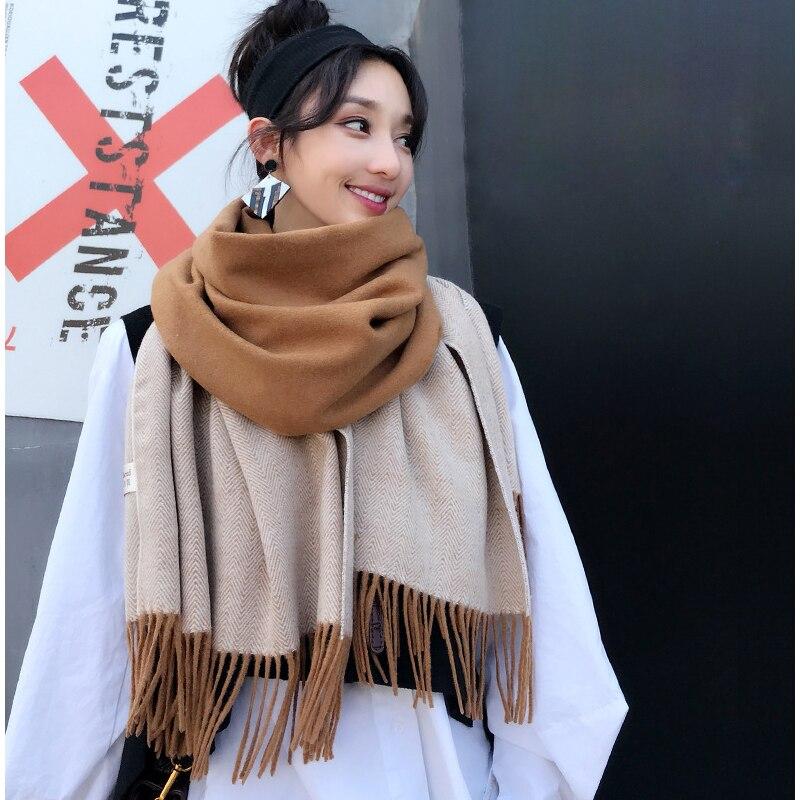 Design Winter Women Scarf Elegant Fashion Splice Cashmere Scarfs For Ladies Thick Warm High Quality Tassel Long Ladies Scarves