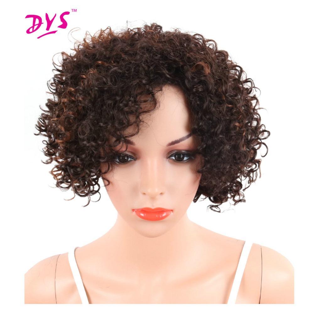 deyngs corte pixie corta afro rizado pelucas de color marrn de las mujeres sinttica rizada peluca