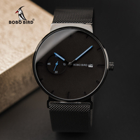 BOBOBIRD Men Watch Luxury Black Minimalist Design Stainless Steel Mesh Strap Date Display relogio masculino Gifts Custom logo