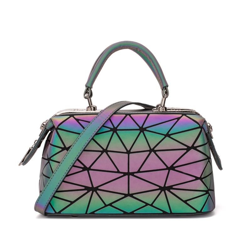 Image 2 - ファッション幾何ハンドバッグバッグ女性発光ボストン女性のメッセンジャーバッグレディース無地ショルダーバッグクラッチ嚢 bolso -     グループ上の スーツケース
