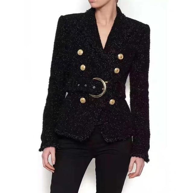 Blazer negro de invierno de alta calidad para mujer, chaqueta de abrigo corta delgada con doble botón dorado y cinturón de lana brillante, traje de oficina, Blazer para mujer