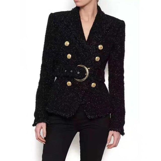 Di Alta Qualità di Inverno Blazer Nero Delle Donne Pulsante Doppio Oro Lucido Cintura di Lana Sottile Cappotto di Short Della Giacca Ufficio Vestito Giacche Feminino
