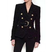 Wysokiej jakości zimowe czarne marynarki damskie podwójne złote guziki błyszczące wełniane paski wąska krótka kurtka marynarka garnitur biznesowy Blazers Feminino