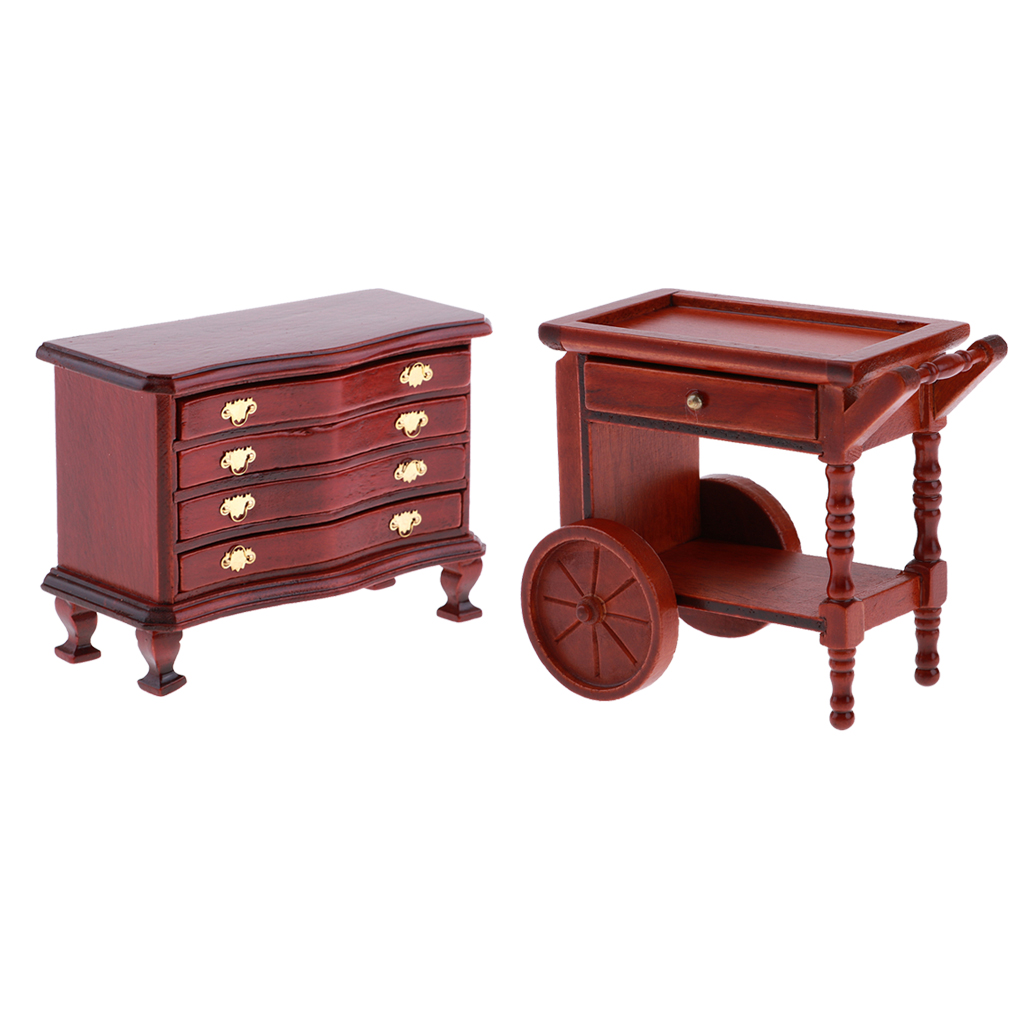 Miniature Drawers Table with Pull Handle for 1:12 Dollhouse Furniture Accs