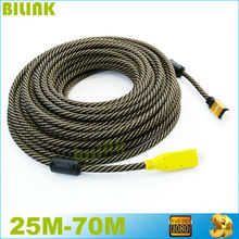 Free Shipping Nylon Braided Gold Plated HDMI Cable Male to Male Built-in IC  V1.4 1080P 3D HDTV 25M 30M 35M 40M 45M 50M 60M 70M