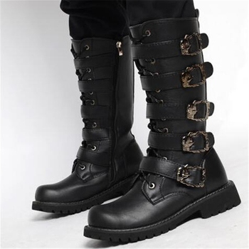 Buckle Mens Shoes | Men's Leather Motorcycle Boots Mid-calf Military Combat Boots Gothic Belt Punk Boots Men Shoes Tactical Army Boot