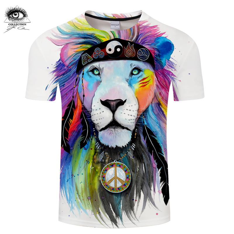 Hippy lion by Pixie cold Art Animal 3D T shirts Men T-shirts Lion Printed Tshirts Brand Tops Male Camiseta Short Sleeve O-neck Z