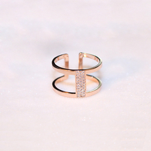 AGOOD Brand 2017 High Quality AAA Zircon Simple Ring Rose Gold Metal Double Circle Open Ring For Women Girls Wendding Bride