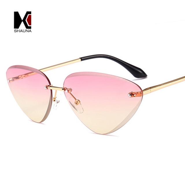 053c0207324 SHAUNA 2018 Spring Summer Styles Women Rimless Cat Eye Sunglasses Spring  Hinge Trending Men Gradient Lens Shades UV400