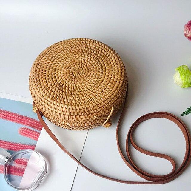 2019 Women Beach Bag Summer Big Totes With Zipper Circle Handwoven Bali Round Retro Rattan Straw Crossbody Handbag Shoulder Bag 2