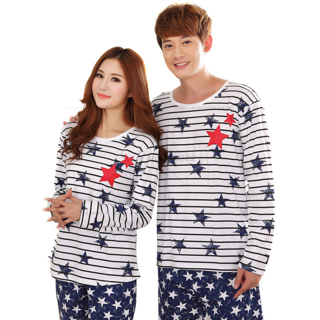 e3bd161341 Spring Autumn Long Sleeve Cotton Star Print Couples Pajamas Sets Women  Pajamas Mujer Striped Sleepwear Pyjama
