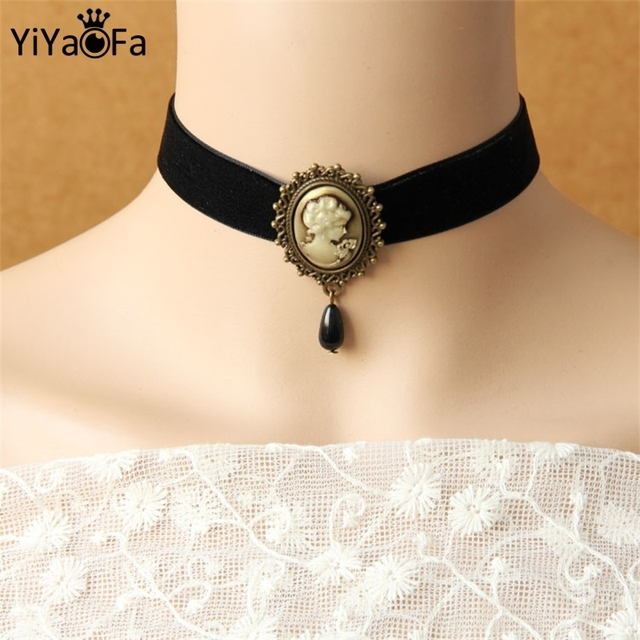 Hecho a mano choker collar y colgante de collar de accesorios de las mujeres de la vendimia collar falso gótico collar llamativo joyería dd-02