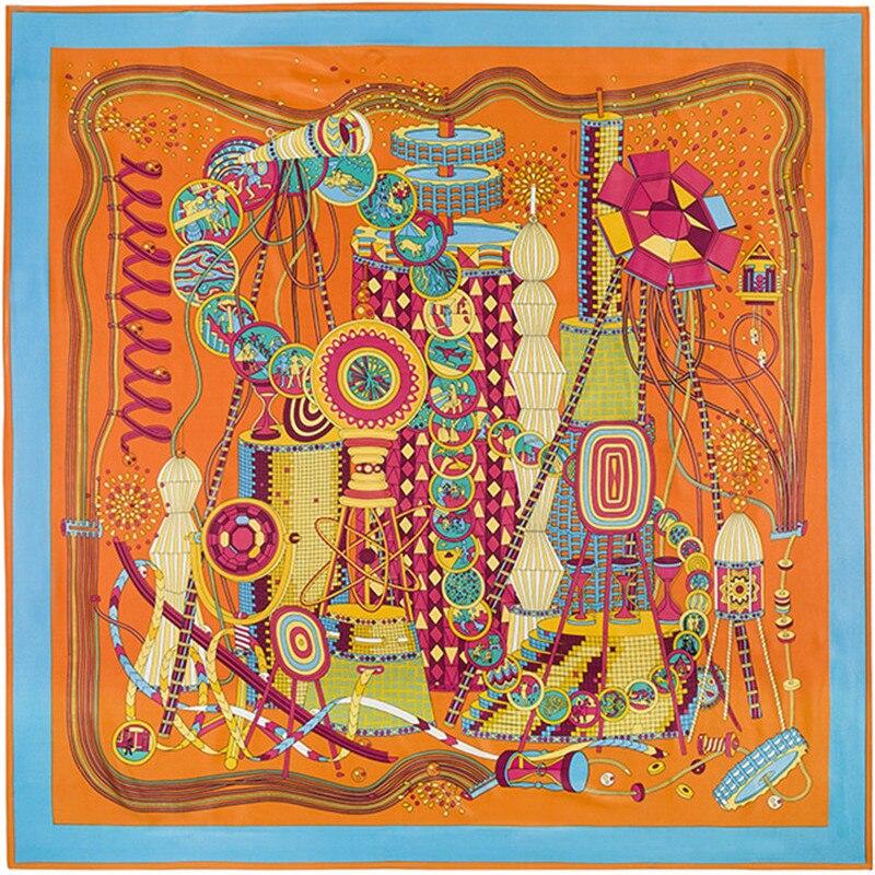 Verantwortlich 130 Cm 130 Cm Luxus Marke Riesen Schal In 100% Seide Twill Print Silk Schal Für Frauen Großen Quadratischen Schals Weibliche Hijab Stirnband