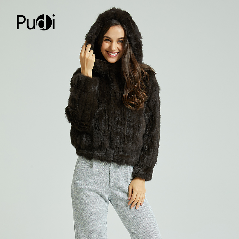 Pudi CT803 women s real rabbit fur knit warm coat girl s winter jackets sweaters fashion