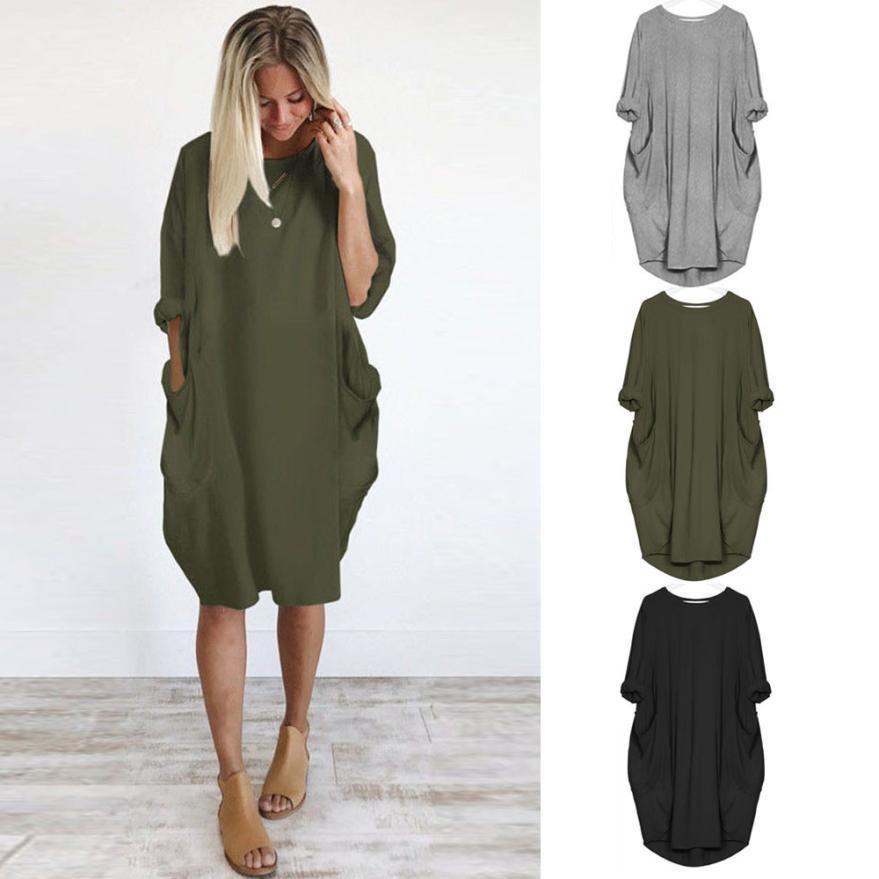 HTB1SoD8J7yWBuNjy0Fpq6yssXXae Women's Fashion Dress Womens Pocket Loose Dress Ladies Crew Neck Casual Long Tops Dresses Plus Size augu10