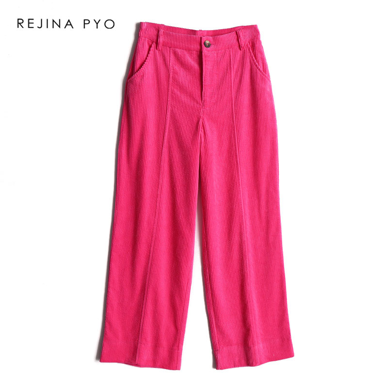 REJINAPYO Women's Vintage Pink Solid Corduroy Casual   Pant   Female Loose High Waist   Pant   Ladies Cotton Comfortable   Wide     Leg     Pants