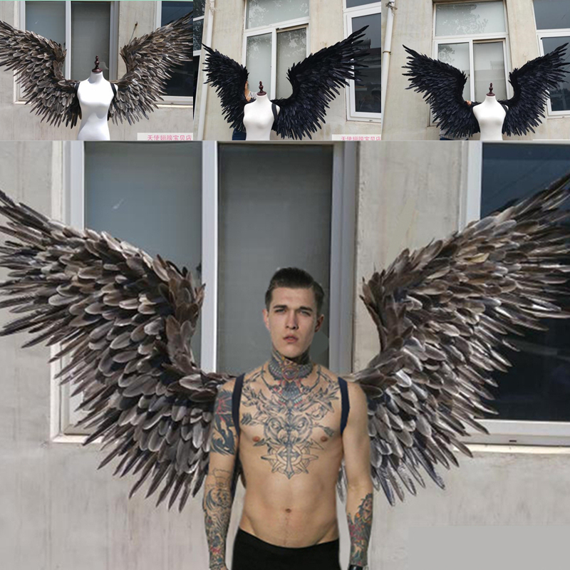 EMS livraison gratuite blanc noir grandes ailes plumes T-stade modèle défilés ailes props parti performance montre des accessoires cosplay