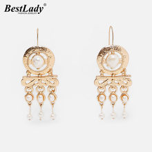 Best lady 2019 New ZA Vintage Simulated Pearls Drop Earrings Wedding Jewelry for Women Fringe Dangle Statement Earrings Party(China)