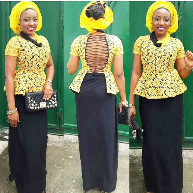 Yellow Backless Evening Dress African Style Party Formal Dresses Two Toned Bright Nigerian