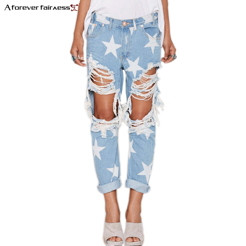 A Forever 2017 Hot Street Fashion Women Jeans Casual Ladies Hole Jeans Stars Printing Straight Denim Ripped Jeans For Women 1005