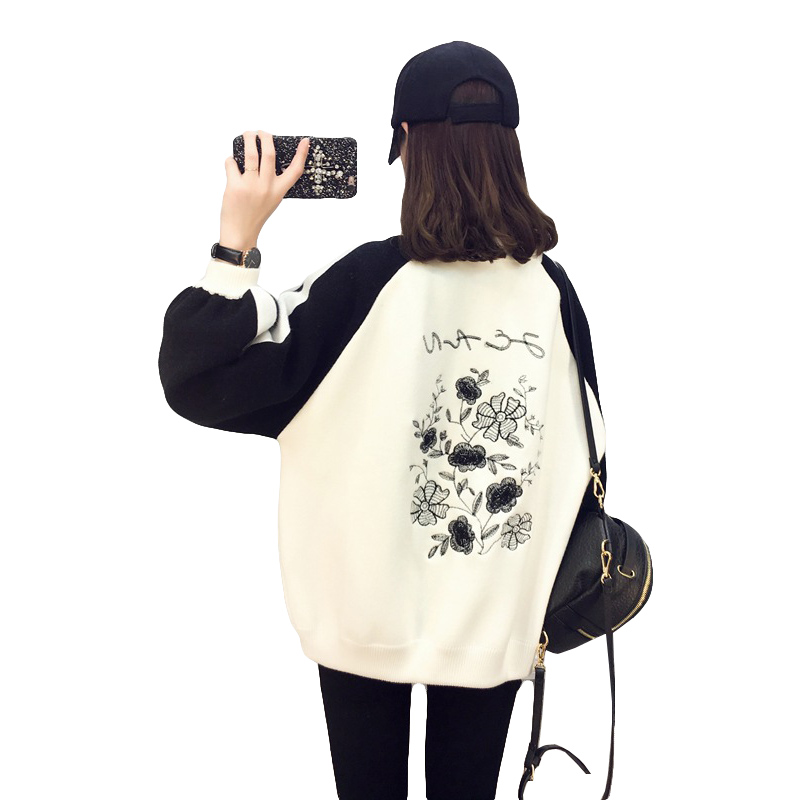 New 2018 Cardigans Womens Fashion Lotus Embroidery Knit Sweater Jackets Female Spring Loose Long Sleeves Zipper Cardigan Coats