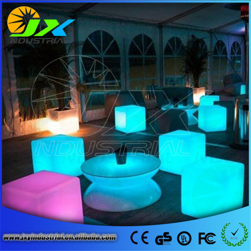 Fashion Modern outdoor waterproof 50CM GLOWING rechargeable luminous cube led bar chair barstools remote control led cube table led cube chair outdoor furniture plastic white blue red 16coours change flash control by remote led cube seat lighting
