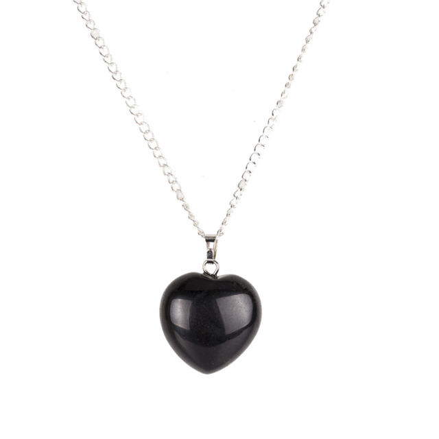 213d008453879 US $5.34 15% OFF|Natural Black Obsidian Heart Pendant Necklace Silver  18inch Link Chain Heart Crystal Healing Stone Chakra Reiki Fashion  Jewelry-in ...