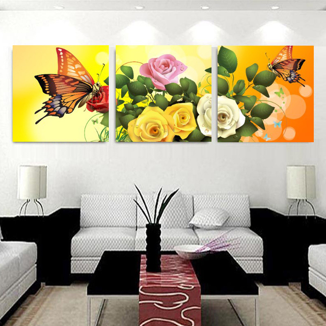 No Marcos Wall Art lienzo pintura cuadros decoracion mariposa Rose ...