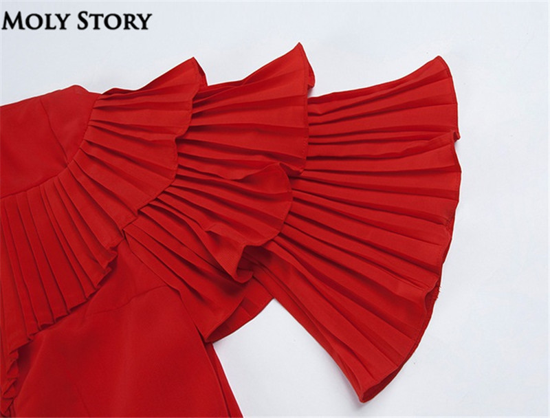 Super! Elegant Silk Red Pleated Dresses Cute Ruffle Long Dress Slim - Women's Clothing - Photo 3