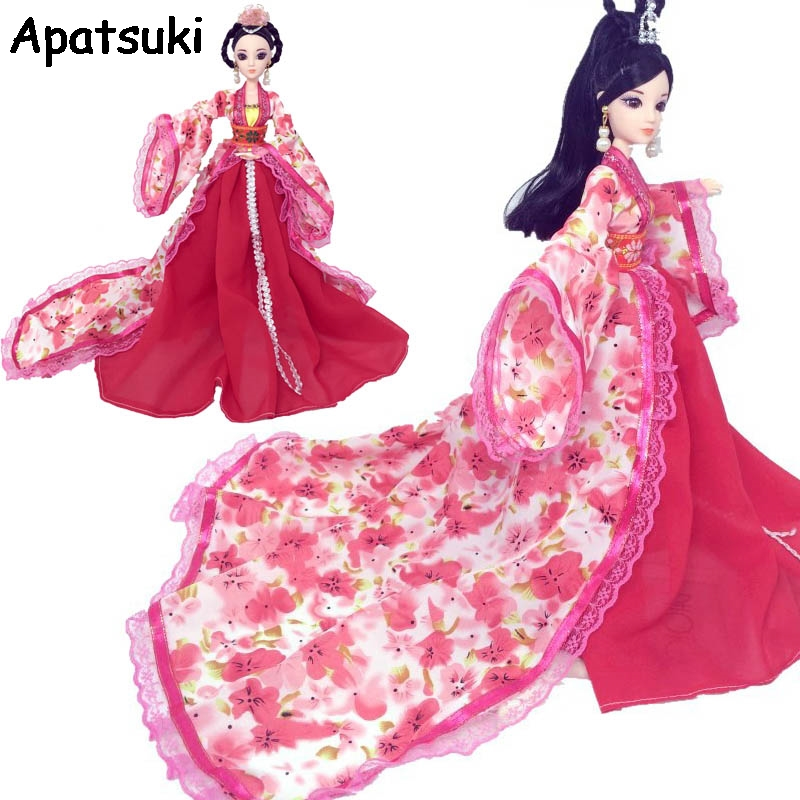 Cosplay Dress For Barbie Doll Traditional Chinese Ancient Beauty Costume Clothes Party Dress Evening Dresses For 1/6 BJD Dolls