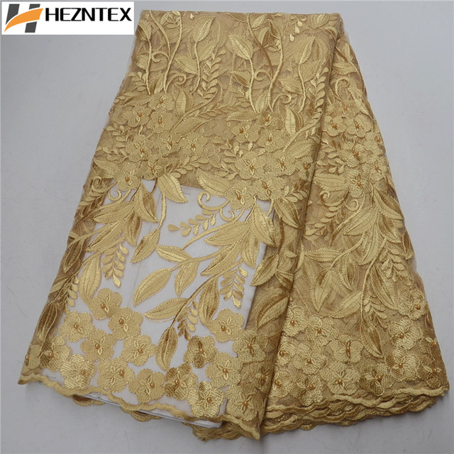 Gorgeous French Lace Fabric Golden Embroidered Mesh Tulle Lace With Beaded High Quality For Engagement Wedding 5Yards PSA386-1