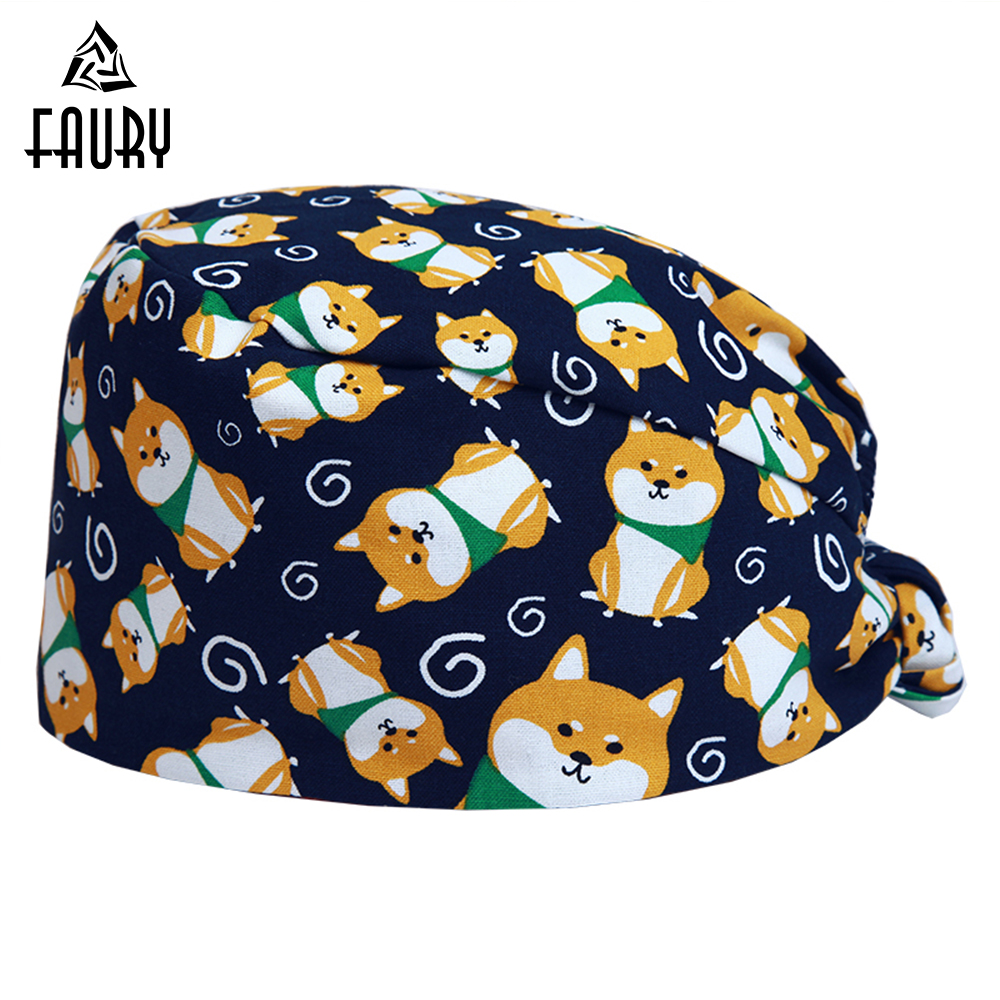 2018 Unisex Surgical Caps Akita Dog Print Flat Top 100% Cotton Surgical Scrub Caps Veterinary Medical Hats Veterinaria Work Hats