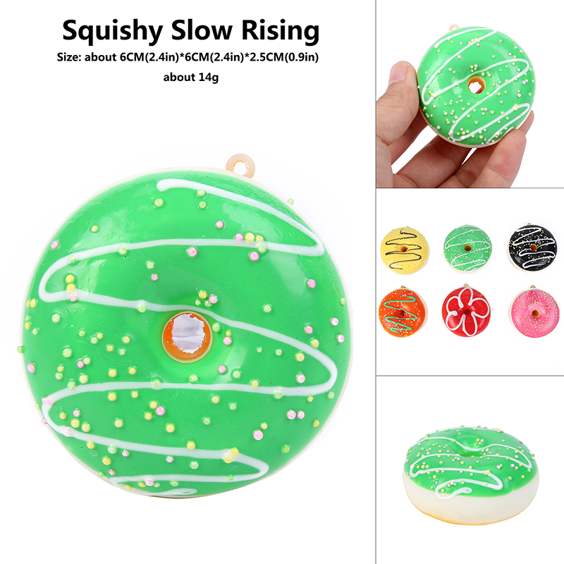 7cm Soft Donut  Doughnut  Squishy Slow Rising Scented Charms Kids Soft Toys Color Random Squeeze Relieve Stress Toy Educational