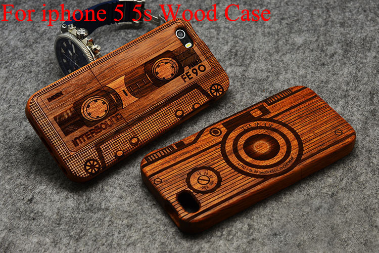 High Quality Wood Case for iPhone 5s Wooden New Cover Natural Real Bamboo Carving Wood Back Cover For iPhone 5 5s SE