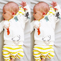 2017 spring new baby boy clothes baby girl clothes bab deer stripe clothing sets children clothing kids pants+t shirts two pcs