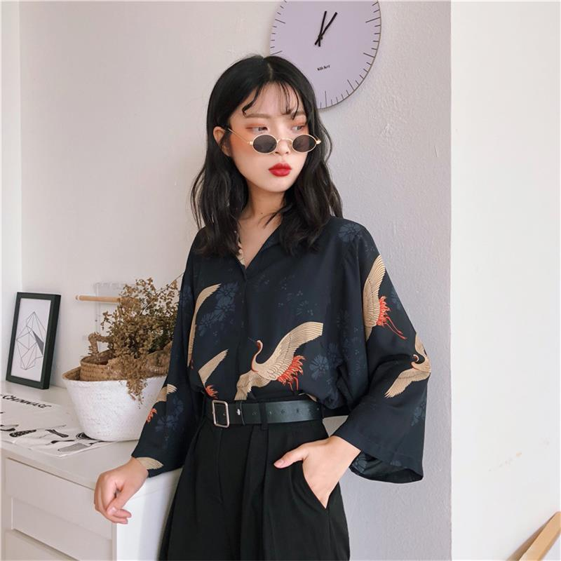 Women's Blouses Clothes Japan Kawaii Ladies Retro Summer Style Vintage Crane Blouse Female Punk Harajuku Cute Tunic For Women(China)