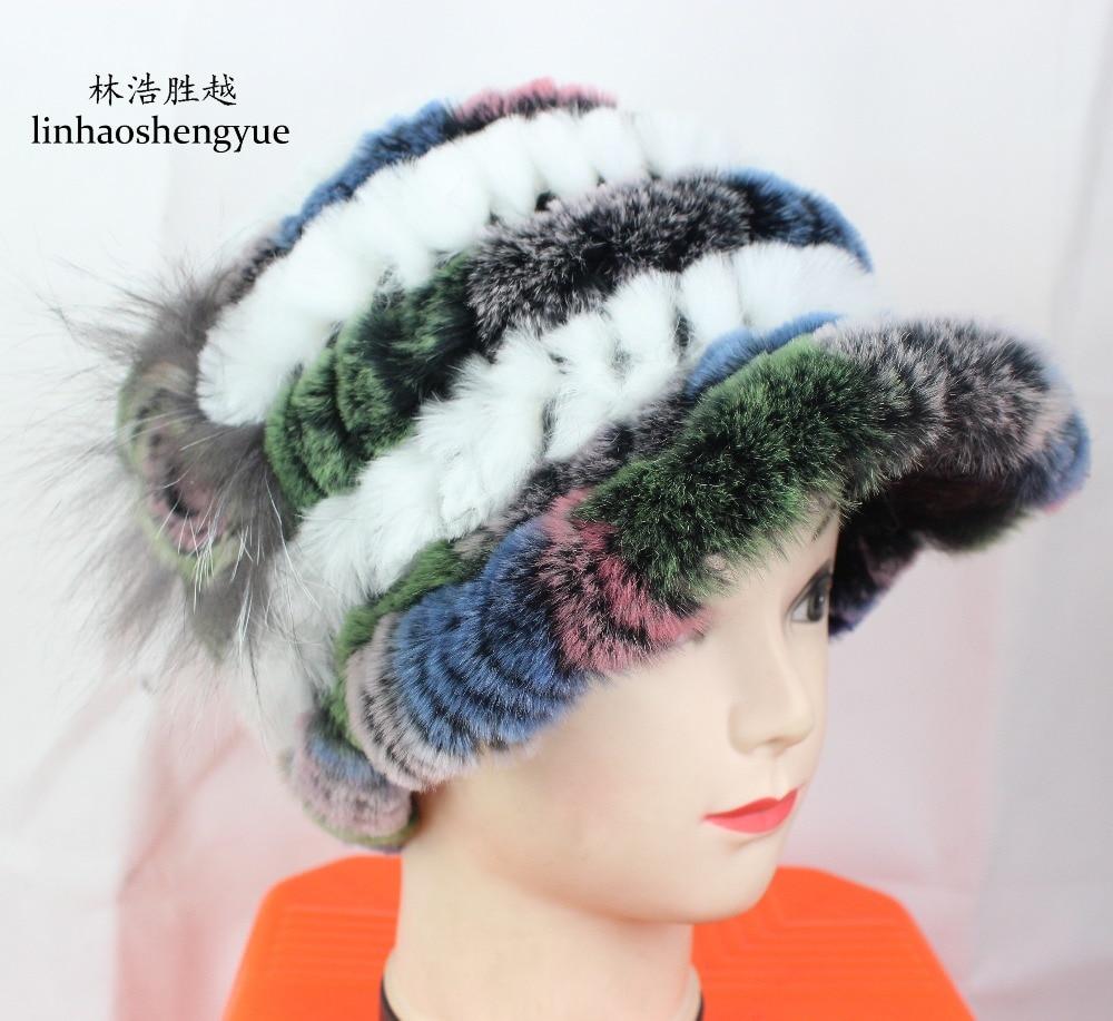 Linhaoshengyue fashion  real fur Rex rabbit fur women cap  winter hat freeshipping rabbit fur cap beautiful fashion free shopping real fur women fur hat winter warm