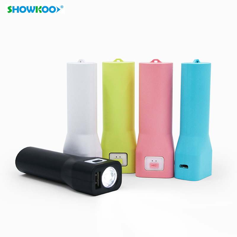 SHOWKOO 1800mAh Power Bank Mini Portable Flashlight Powerbank with LED Torch Flash Light Charger Android Phone External Battery