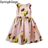 New Girls Dress Ice Cream Pattern Party Wedding Princess Dress For Girls Kids Clothes Birthday Clothing