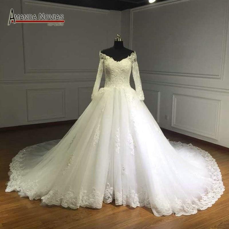 Long Train Off Shoulder Full Sleeve Lace Appliques Luxury Wedding Dresses