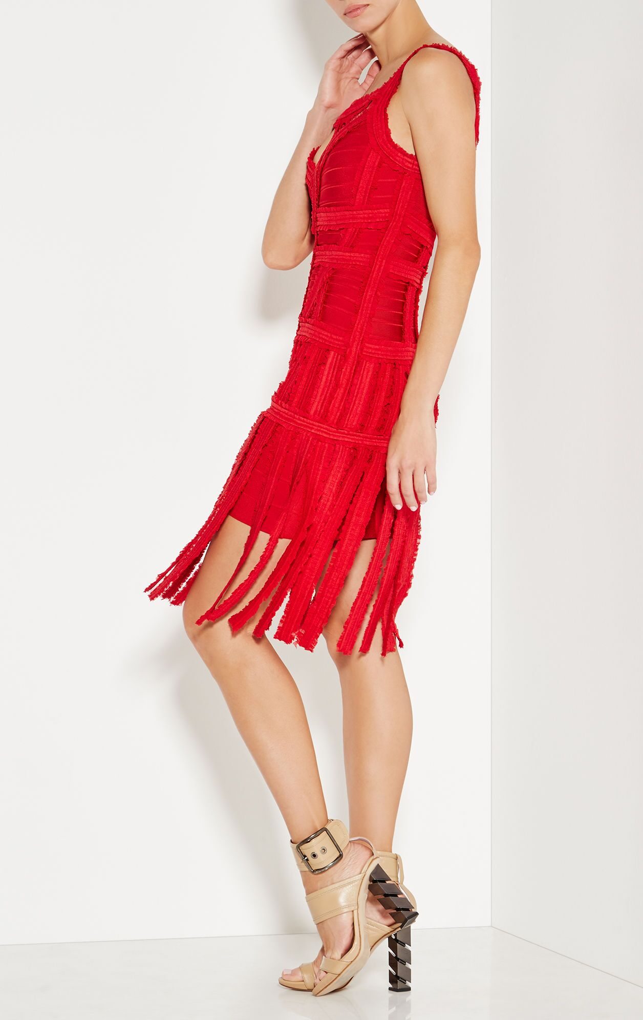 2019 hl nieuwe cocktail party clubwear night out formele fringe kwastje mouwloze chiffon sheer zwart rood wit vrouwen bandage jurk - 5