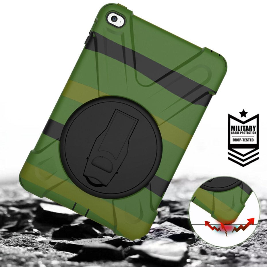 Case for ipad mini 4, Kids Shockproof hand-held Shock Proof full body cover Handle stand coque for ipad mini 4 cover funda for ipad mini
