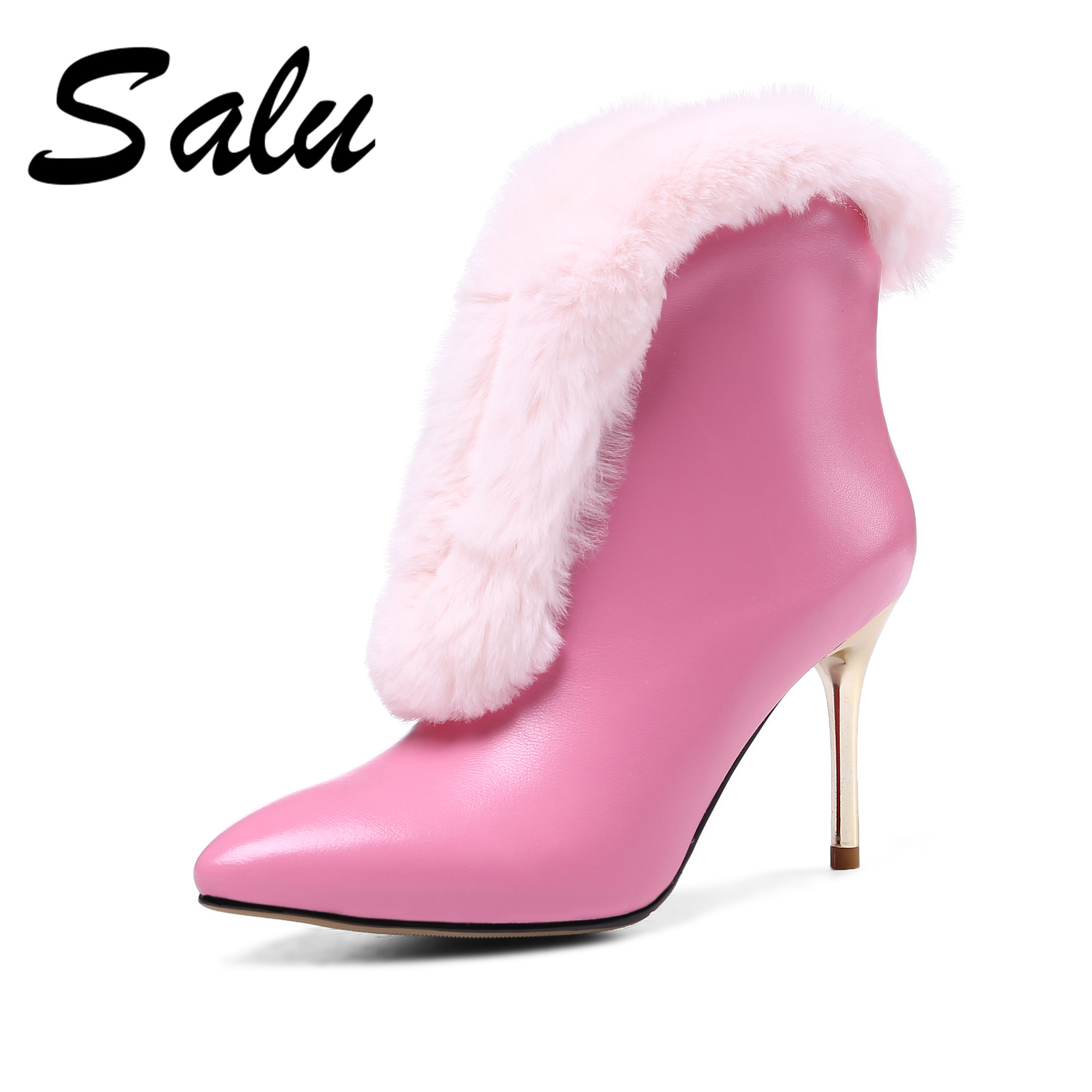 Salu Elegant Women Genuine leather Ankle Boots High Heels Suede Leather Brand Office Pumps New Warm Autumn Winter Shoes Women