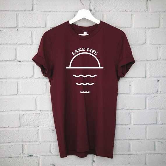 Футболка озеро Tee лодках одежда походная рубашка забавная футболка в пляжном стиле из хлопка высокого качества с Костюмы озеро жизни