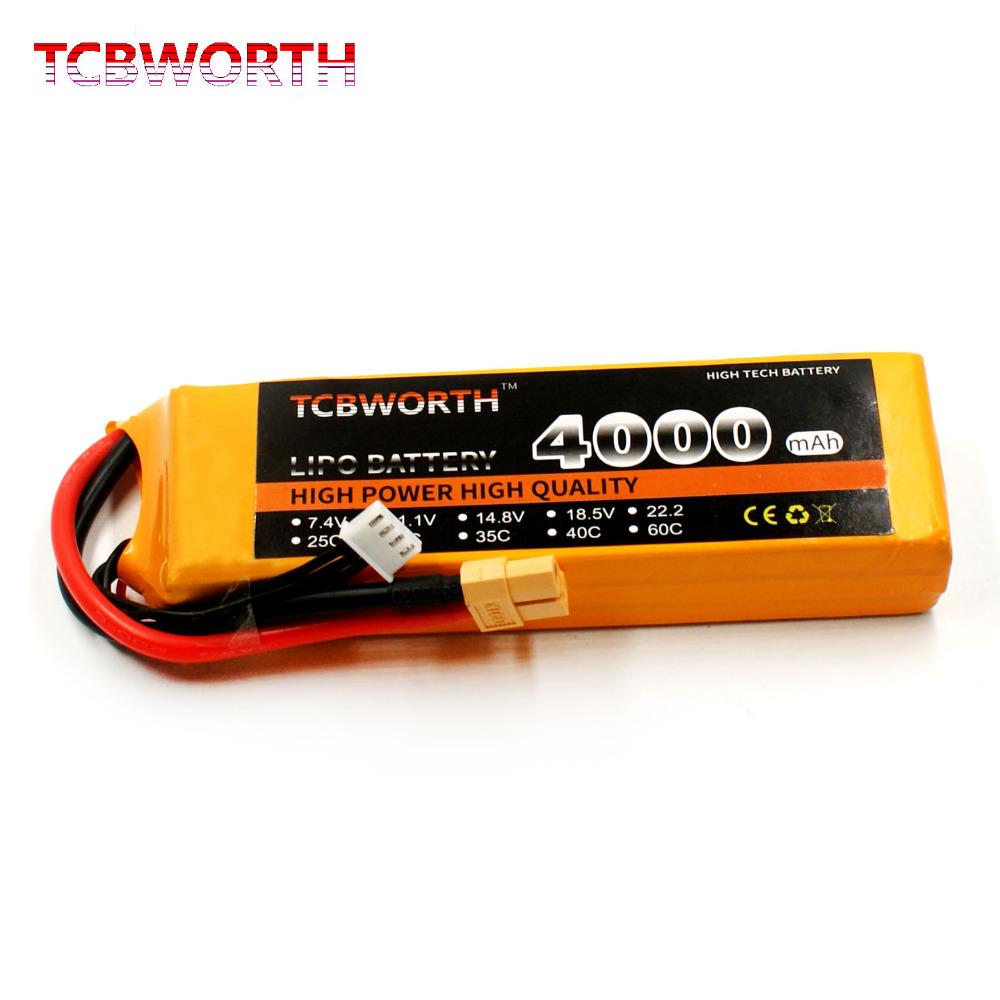 TCBWORTH RC Drone LiPo battery 3S 11.1V 4000mAh 30C For RC Helicopter Quadrotor Airplane Car boat Truck Li-ion batteria 1s 2s 3s 4s 5s 6s 7s 8s lipo battery balance connector for rc model battery esc