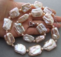 new 18x25mm Natural Pink Keshi Pearl necklace
