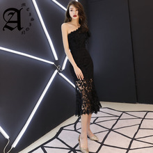Spring and summer Slim small dress lace mermaid evening dresses long elegant formal women